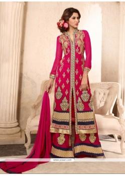 Vivacious Zari Work Georgette Hot Pink Designer Palazzo Suit