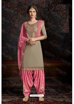 Taupe Designer Wear Jam Satin Cotton Jacquard Punjabi Patiala Suit