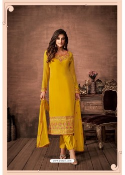 Yellow Party Wear Designer Straight Salwar Suit