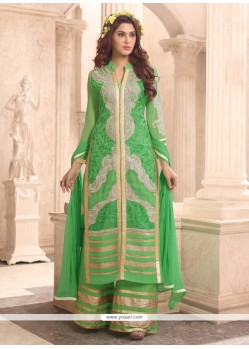 Regal Zari Work Georgette Green Designer Palazzo Suit