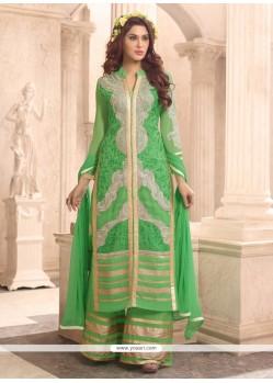Regal Zari Work Georgette Green Designer Palazzo Suit