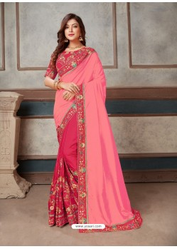 Pink Latest Party Wear Designer Embroidered Sari