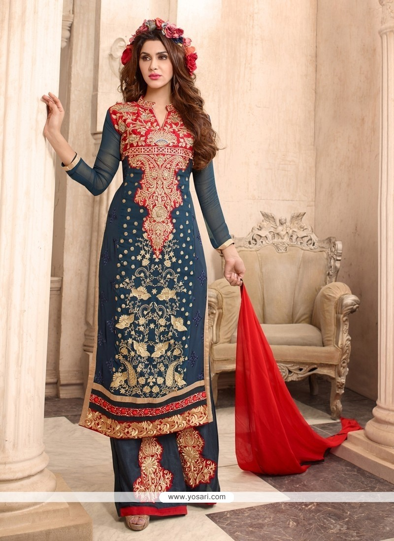 Charming Embroidered Work Designer Palazzo Suit