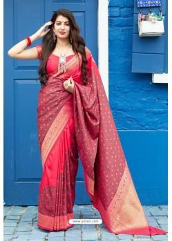 Crimson Latest Party Wear Embroidered Soft Silk Sari