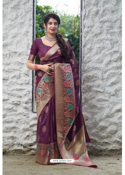 Purple Latest Party Wear Embroidered Soft Silk Sari
