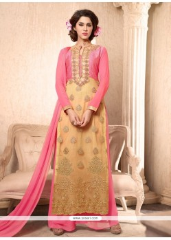 Dainty Embroidered Work Georgette Cream Designer Palazzo Salwar Kameez