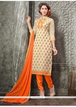 Intrinsic Lace Work Beige And Orange Chanderi Churidar Designer Suit