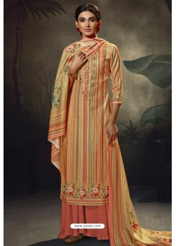 Multi Colour Designer Casual Wear Pashmina Palazzo Salwar Suit