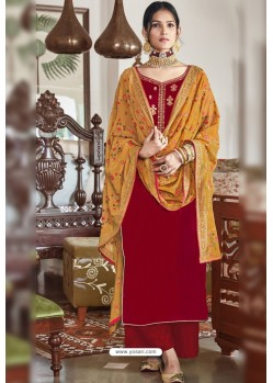Red Party Wear Designer Falcon Velvet Palazzo Suit