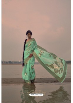 Sea Green Designer Party Wear Pure Linen Silk Sari