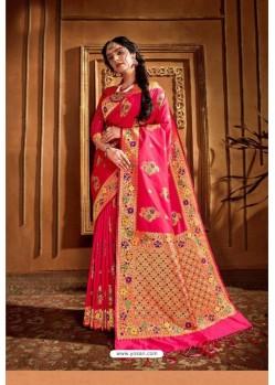 Fuchsia Latest Designer Party Wear Silk Wedding Sari