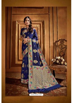 Royal Blue Latest Designer Party Wear Silk Wedding Sari