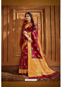 Wine Latest Designer Party Wear Silk Wedding Sari