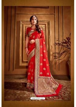 Tomato Red Latest Designer Party Wear Silk Wedding Sari