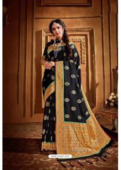 Black Latest Designer Party Wear Silk Wedding Sari