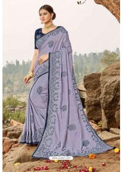 Lavender Latest Designer Party Wear Silk Wedding Sari
