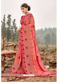 Peach Latest Designer Party Wear Silk Wedding Sari