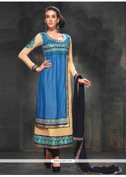 Dignified Cream And Blue Zari Churidar Suit