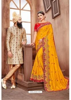 Yellow Latest Designer Embroidered Party Wear Silk Wedding Sari
