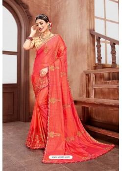 Peach Latest Designer Embroidered Party Wear Silk Wedding Sari