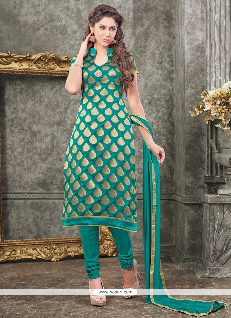 Trendy Chanderi Churidar Designer Suit