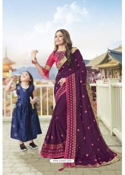 Purple Latest Designer Embroidered Party Wear Silk Wedding Sari