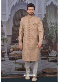 Peach Readymade Designer Indowestern Sherwani For Men