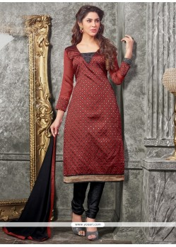 Classy Lace Work Maroon Chanderi Churidar Designer Suit