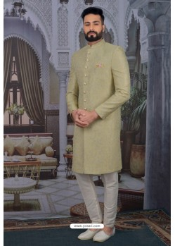 Olive Green Readymade Designer Indowestern Sherwani For Men