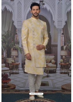 Light Yellow Readymade Designer Indowestern Sherwani For Men