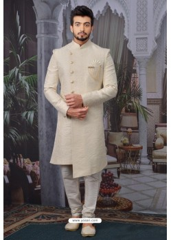 Cream Readymade Designer Indowestern Sherwani For Men