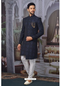 Navy Blue Readymade Designer Indowestern Sherwani For Men