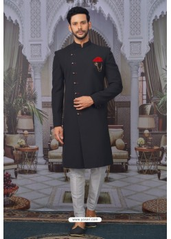 Black Readymade Designer Indowestern Sherwani For Men