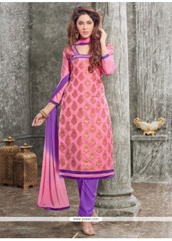 Fashionable Chanderi Pink Lace Work Churidar Designer Suit