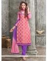 Fashionable Chanderi Pink Lace Work Churidar Designer Suit