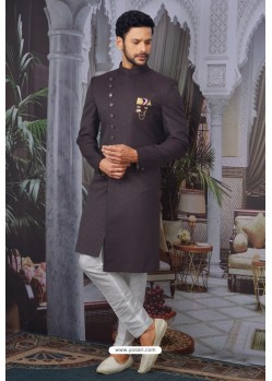 Deep Scarlet Readymade Designer Indowestern Sherwani For Men
