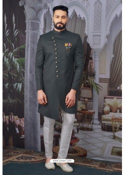 Dark Grey Readymade Designer Indowestern Sherwani For Men