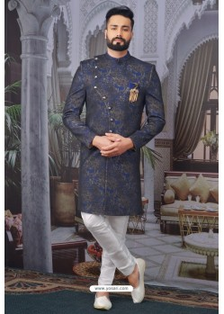 Latest Dark Blue Readymade Designer Indowestern Sherwani For Men