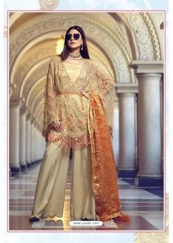 Cream Latest Heavy Designer Party Wear Pakistani Style Salwar Suit