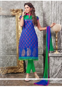 Sorcerous Blue Lace Work Chanderi Churidar Designer Suit
