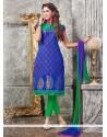 Sorcerous Blue Lace Work Chanderi Churidar Designer Suit