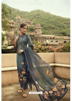 Dull Grey Designer Casual Wear Sorar Crepe Palazzo Salwar Suit