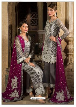 Dull Grey Latest Georgette Designer Party Wear Pakistani Style Salwar Suit