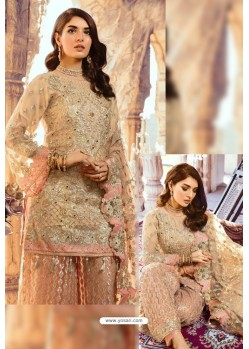 Beige Latest Georgette Designer Party Wear Pakistani Style Salwar Suit