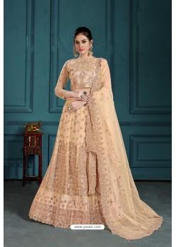 Beige Heavy Embroidered Designer Net Wedding Lehenga Choli