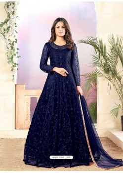Navy Blue Designer Embroidered Net Straight Salwar Suit