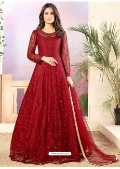 Maroon Designer Embroidered Net Straight Salwar Suit