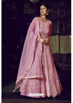 Pink Heavy Designer Super Net Party Wear Anarkali Suit