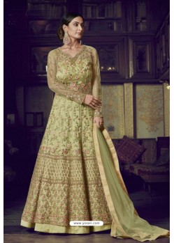 Green Heavy Designer Super Net Party Wear Anarkali Suit