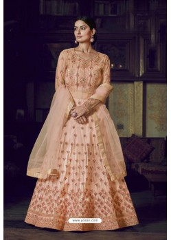 Peach Heavy Designer Super Net Party Wear Anarkali Suit